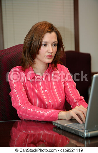 Businesswoman on Computer - csp9321119