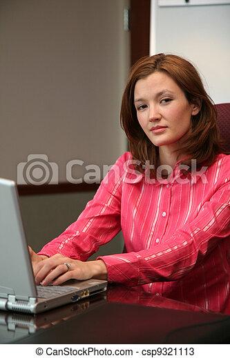 Businesswoman on Computer - csp9321113
