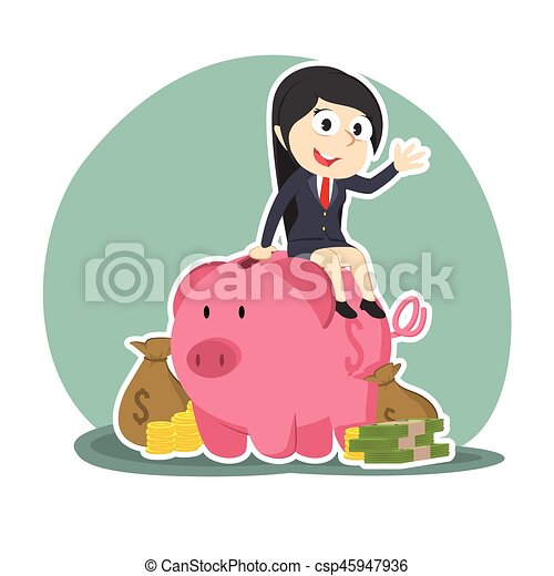 businesswoman on piggy bank with a lot of money - csp45947936