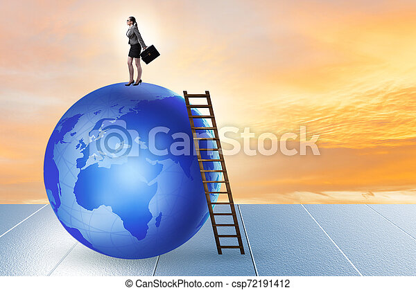 Businesswoman on top of the world - csp72191412