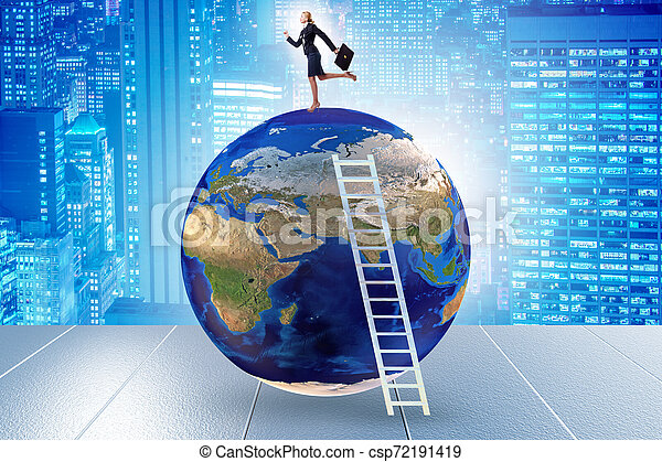 Businesswoman on top of the world - csp72191419