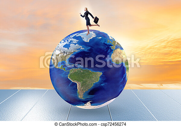 Businesswoman on top of the world - csp72456274