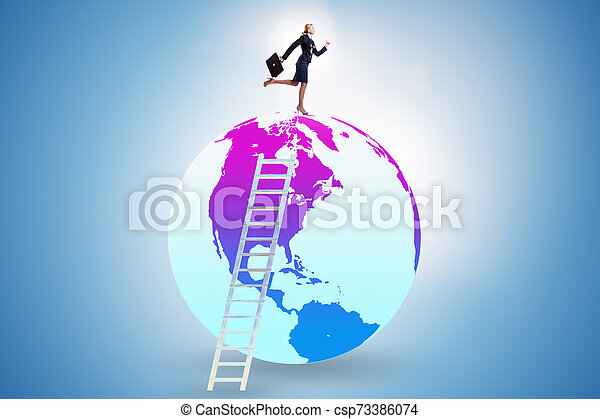Businesswoman on top of the world - csp73386074