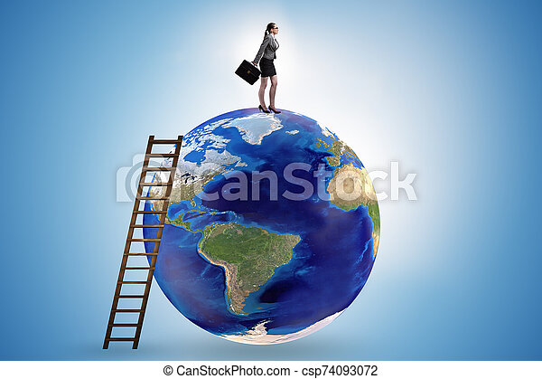 Businesswoman on top of the world - csp74093072
