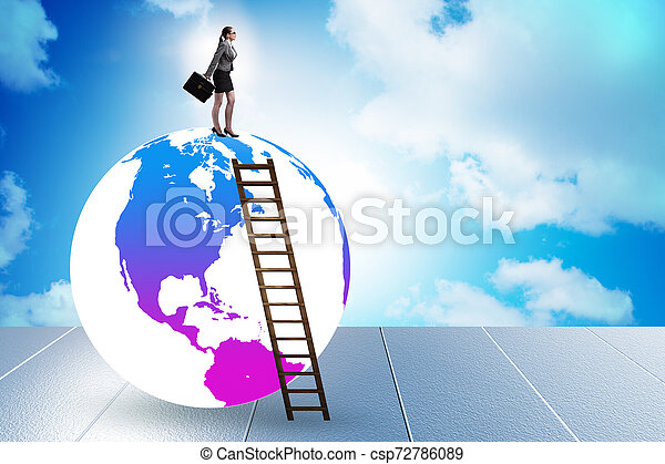 Businesswoman on top of the world - csp72786089