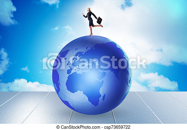 Businesswoman on top of the world - csp73659722
