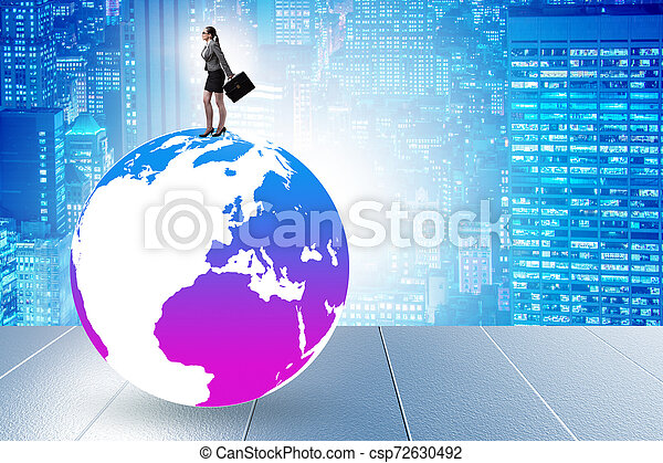 Businesswoman on top of the world - csp72630492