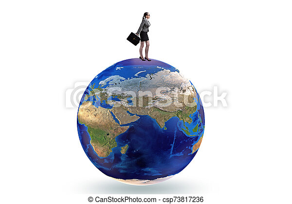 Businesswoman on top of the world - csp73817236