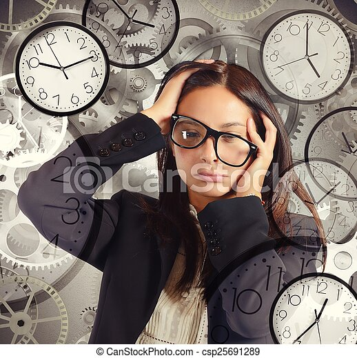 Businesswoman overload appointments - csp25691289