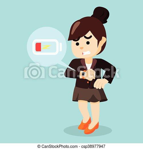 businesswoman panic smartwatch low - csp38977947