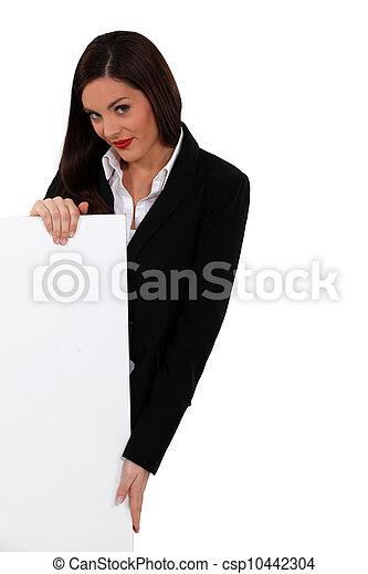 businesswoman, plank, leeg bericht, jouw, links - csp10442304