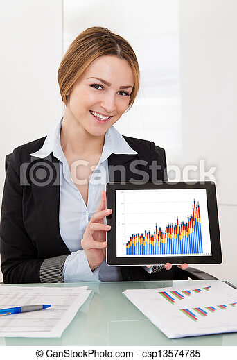 Businesswoman Presenting Charts On Digital Tablet - csp13574785