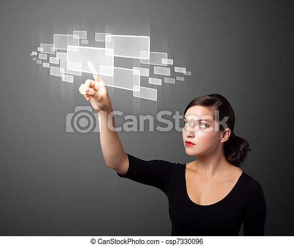 Businesswoman pressing high tech type of modern buttons - csp7330096