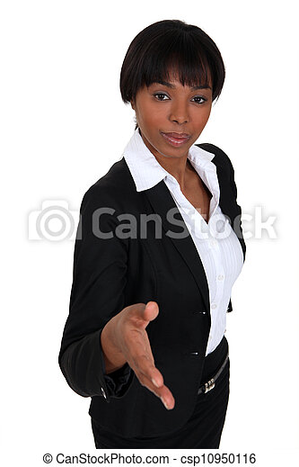 Businesswoman proffering her hand - csp10950116