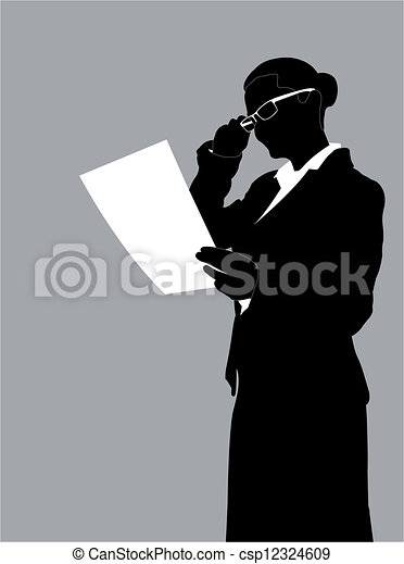 businesswoman reading report - csp12324609
