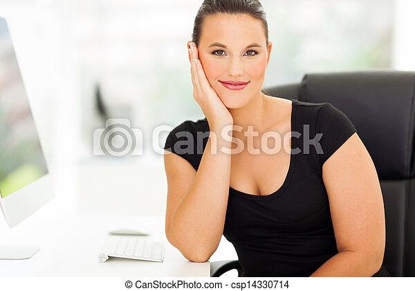 businesswoman relaxing in office - csp14330714