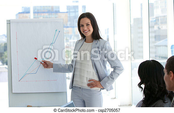 Businesswoman reporting to sales figures - csp2705057