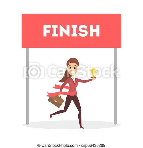 Businesswoman running to finish. - csp56438289