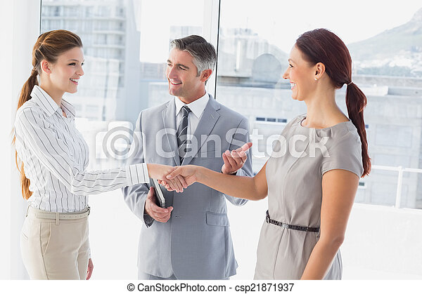 Businesswoman shaking co-workers hand - csp21871937