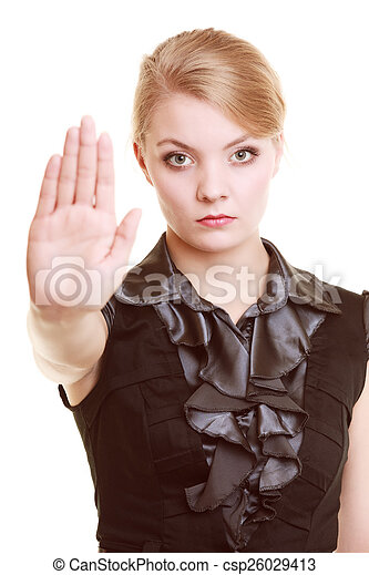 Businesswoman Showing Stop Hand Sign Gesture