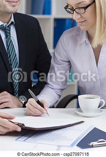 Businesswoman signing contract - csp27097118