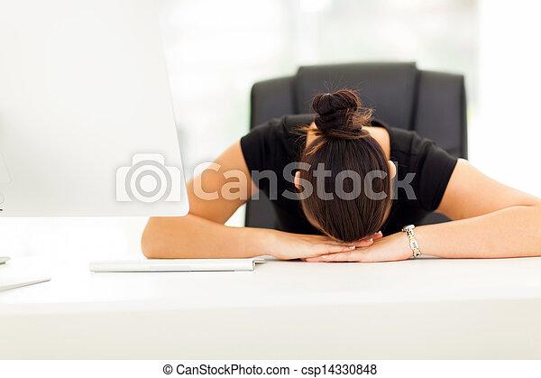 businesswoman sleeping in her office - csp14330848