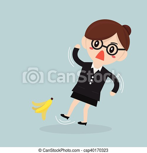 Businesswoman slipping on a banana peel. vector. flat design - csp40170323
