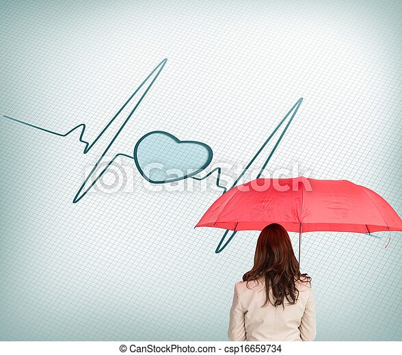 Businesswoman standing back to camera holding umbrella - csp16659734