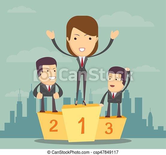 Businesswoman standing on the winners podium - csp47849117