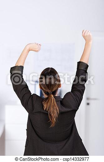 businesswoman, stretching, kantoor - csp14332977