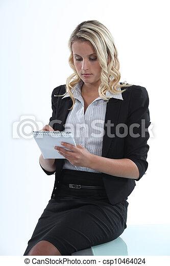 businesswoman taking notes - csp10464024
