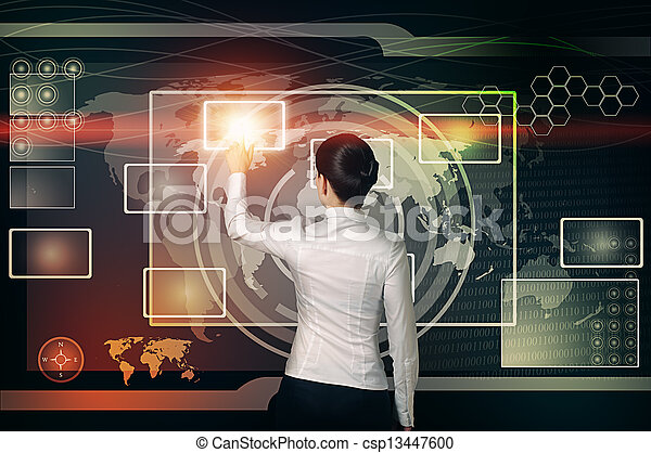 businesswoman touch virtual button in web interface - csp13447600