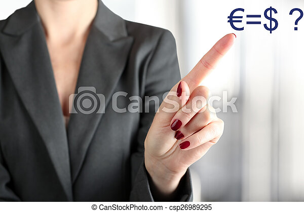 Businesswoman Touching euro and usd on a virtual graph by fing - csp26989295