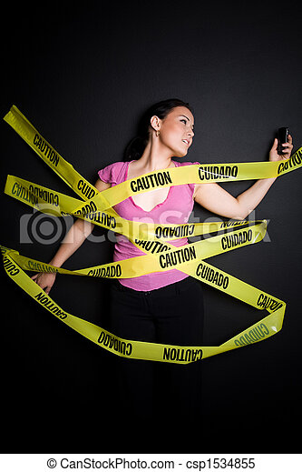 Businesswoman trapped in caution tape - csp1534855