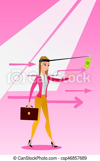 Businesswoman trying to catch money on fishing rod - csp46857689