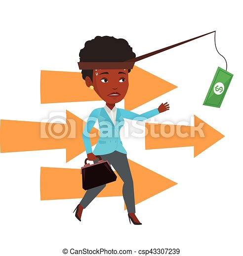 Businesswoman trying to catch money on fishing rod - csp43307239