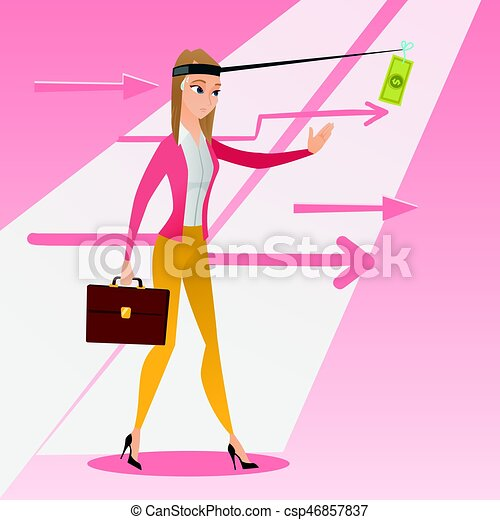 Businesswoman trying to catch money on fishing rod - csp46857837