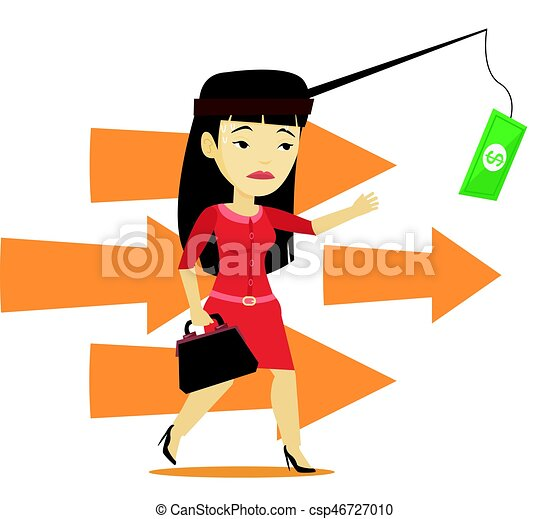 Businesswoman trying to catch money on fishing rod - csp46727010