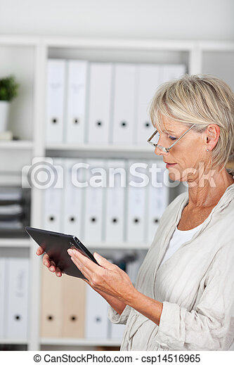 Businesswoman Using Digital Tablet In Office - csp14516965