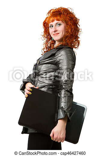 businesswoman using laptop computer - csp46427460
