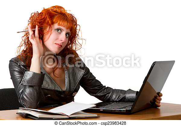businesswoman using laptop computer - csp23983428