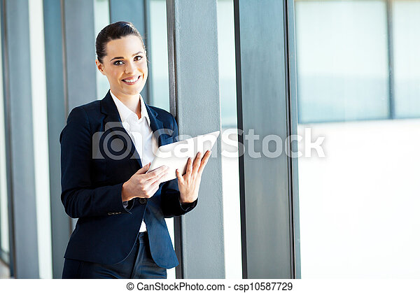businesswoman using tablet computer - csp10587729