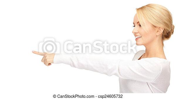 businesswoman, wijzende, haar, vinger - csp24605732