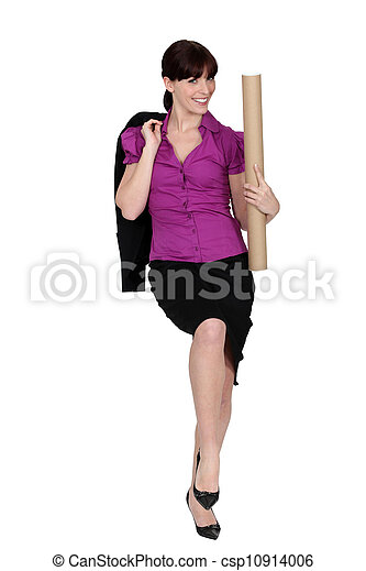 Businesswoman with a cardboard document tube - csp10914006
