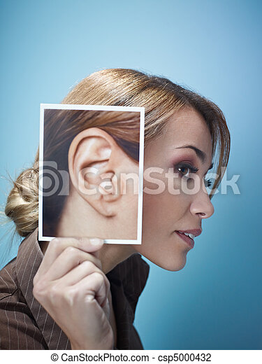 businesswoman with big ears - csp5000432