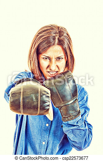 Businesswoman with boxing gloves posing - csp22573677