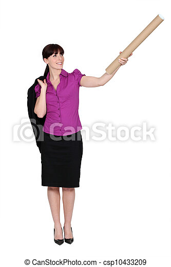 Businesswoman with cardboard tube - csp10433209
