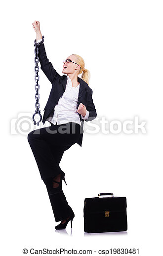 Businesswoman with chain isolated on the white - csp19830481