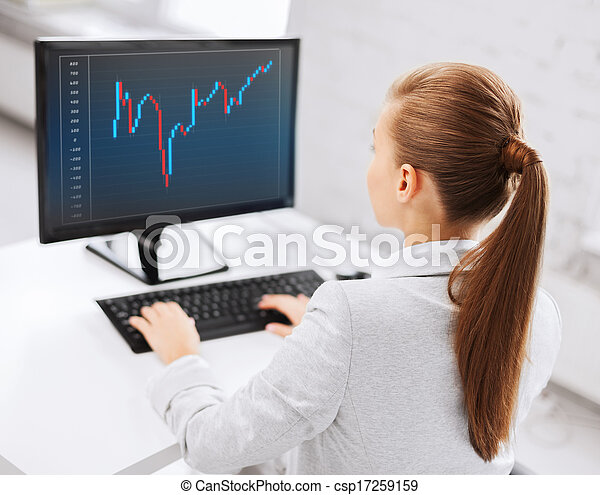 businesswoman with computer and forex chart - csp17259159