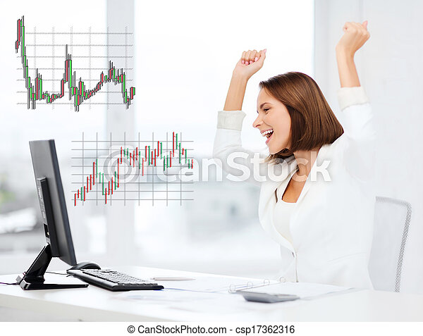 businesswoman with computer in office - csp17362316